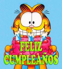 Garfield saludos de Feliz Cumpleaños Happy Brithday, Happy Birthday Me, Birthday Greetings, First Birthday Balloons, Champagne Birthday, Happy B Day, Funny Cards, Kids Cards, First Birthdays