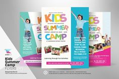 Kids Summer Camp Flyers in 3 Design Variation Flyer template perfect for promoting your kids summer camp event. This flyer can also be used for any kind Summer Camps For Kids, Summer Kids, Typography Design, Lettering, Christmas Flyer, Marketing Flyers, Event Flyer Templates, Flyer Layout, Catalog Design