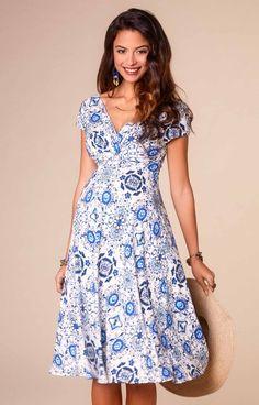 Alessandra Maternity Dress Short Porcelain Blue by Tiffany Rose