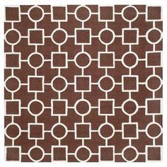 Safavieh Sumner Texture Wool Rug - Dark Brown / Ivory (6' X 6' Square), Dark Brown/Ivory