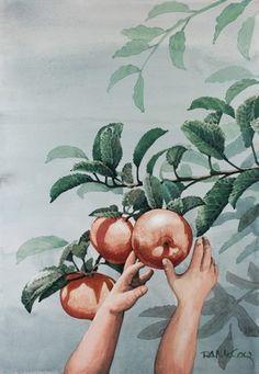 Todays Apple My Arts, Apple, Watercolor, Gallery, Painting, Watercolour, Watercolor Painting, Painting Art, Paintings