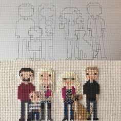Start to finish of a family portrait with two generations. Mom in the middle with her son, daughter, daughter's family and fur baby Hogan. Family is everything! #littlethistlesstitch #littlethistles #stitchpeople #crossstitch #familyportrait