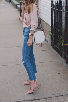 blush wrap blouse paige straight leg jeans ann taylor heels prosecco and plaid-5