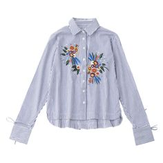 High Low Floral Embroidered Striped Shirt (100 BRL) ❤ liked on Polyvore featuring tops, blouses, shirt blouse, stripe shirt, shirt top, striped blouse and striped top
