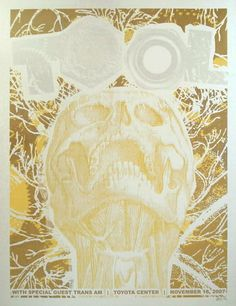 Tool Concert Poster with Trans Am Nov 2007 Toyota Center- Houston X silkscreen print on nice heavy paper hand signed & numbered edition of 100 artist: Clint Wilson Music Love, Art Music, Band Posters, Music Posters, Tool Poster, Toyota Center, Silk Screen Printing, Concert Posters, Skull Art