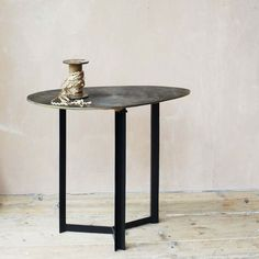 Our Ryker Oval Side Table beholds unique attraction. Square Side Table, Round Side Table, Living Furniture, Table Furniture, Copper Side Table, Mirrored Side Tables, Leaf Table, Interior Styling, Home And Living
