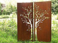 Gartenwand Sichtschutz Wand Diptychon Baum Stahl rost 150x195 cm
