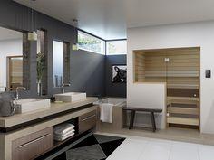 Bastuinspiration Vem vill inte ha detta badrum med bastu!?