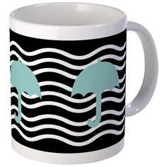 Dreamy Aqua Umbrellas Mug #mint #umbrella