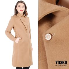 Linii minimale, un singur rever, o culoare in trend : jacheta FAITH YOKKO Smart Coat, Cold Day, Quilted Jacket, Wool Coat, Duster Coat, Beige Coat, Blazer, Clothes For Women, Fall Winter