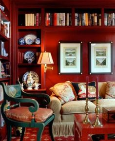 Decor, Lauren style, Brick red walls, green painted chair, blue and white porcelain - Nancy Serafini Interiors Luxury Interior, Interior Design, Home Libraries, Bedroom Red, Red Rooms, Red Walls, Red Interiors, Traditional House, Nantucket