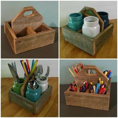 Rustic wooden caddy - great for utensils at a picnic or crayons on a craft table!