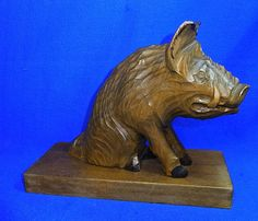 Vintage German Wood Carved Wild Boar Figure / Figurine #AO