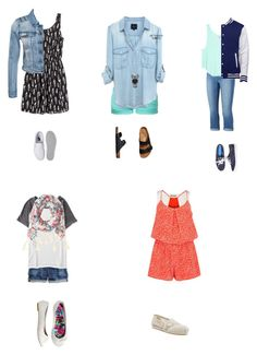 """Outfits for the First Week of School"" by abbyd2403 ❤ liked on Polyvore featuring H&M, Vans, VILA, TWINTIP, Aéropostale, Birkenstock, Jennifer Lopez, American Eagle Outfitters, J.Crew and Michael Kors"