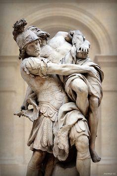 Aeneas and Anchises Pierre Lepautre, 1715 Louvre Museum, Paris Marble Ancient Greek Sculpture, Greek Statues, Ancient Art, Museum Paris, Louvre Museum, Ancient Greek Architecture, Art And Architecture, Carpeaux, Greek And Roman Mythology