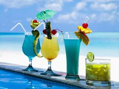 Tropical drinks to quench the thirst after a swim in the ocean.  #spaweek
