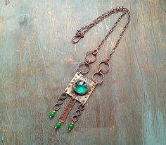 Green Glass Brass Copper Boho Rustic Earthy Pendant Jade