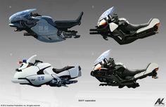 Adam Kuczek, concept art for Cloud Atlas - Police Skiff designs