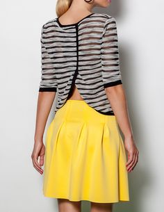 Blanco: yellow full skirt, B&W sheer top. Winter 2014 2015, Yellow Stripes, High Waisted Skirt, Mini Dresses, Skirts, Blazers, Blouses, Outfit, Ideas