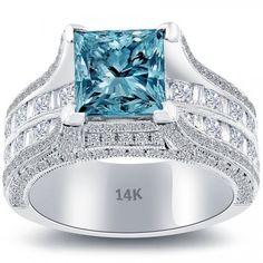 5.09 CT. Fancy Blue Princess Cut Diamond Engagement Ring 14k Gold Vintage Style