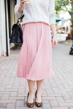 Poor Little It Girl - Pink Pleated Midi Skirt
