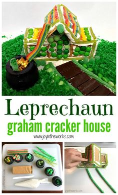 Gingerbread houses aren't just for Christmas anymore- kids love crafting with candy! For a fun St. Patrick's Day Activity, forget making a Leprechaun trap! Have your kids make a Leprechaun Graham Cracker House instead! For the perfect finishing touch, decorate your St. Patrick's Day Gingerbread House with skittles, mint m&m's and other green and rainbow candy! #stpatricksday #stpatricksdayforkids #stpatricksdayactivity #familyfun #stpatricksdaycraft #candyhouse #grahamcrackerhouse #leprechaun #l