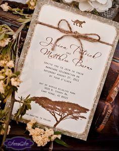 Vintage Desert Safari Wedding Invitations - hand painted and embellished with glitter. $5.00, via Etsy.