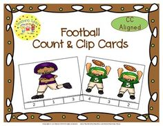 These cards are terrific for Math Centers – A Hands-On Activity your kiddos will love!  Football Clip Cards allow learners to practice counting. WAIT, THERE'S MORE!!! More cards that is. Now, you have 20 clip cards! Football Count & Clip Cards help your little tykes practice counting from 1 to 20!!!