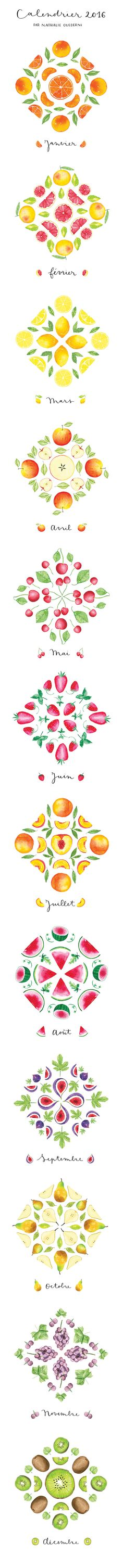Watercolor Fruit Calendar by Nathalie Ouederni