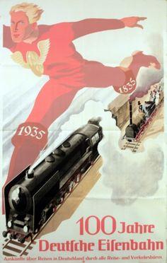 GERMANY - 100 Years of German Railways, 1935 poster by Riemer #Vintage #Travel