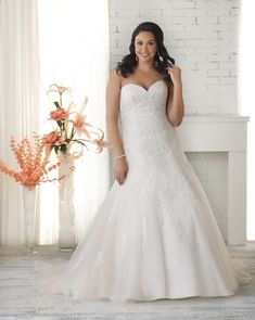 1517 Unforgettable by Bonny Bridal - Lace and tulle plus size wedding gown.  Sweetheart neckline with a fit and flare skirt.