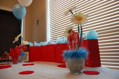 The Cat in the Hat Baby Shower Party Ideas Shower Party, Baby Shower Parties, Double Shower, Party Photos, Baby Hats, Baby Shower Invitations, Event Planning, Flower Arrangements, Activities For Kids