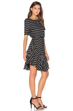 f92e2222ed0 Shona Joy Isabelle Ruffle Shift Dress in Black   White Stripe An easy  outfit for practically any business event!