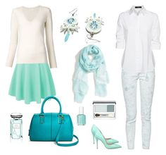 """Pale blue white outfit"" by kicsiyudesign on Polyvore featuring French Connection, Steffen Schraut, Charles David, Chloé, Mossimo, Essie, By Terry, Clinique and Hinge"