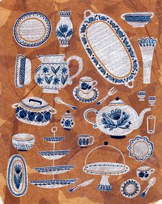 Koi Pond. Kitchen. Crockery print. Blue and white