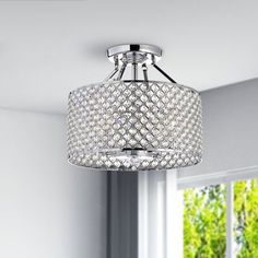 Chrome/ Crystal 4-light Round Ceiling Chandelier - Overstock Shopping - Great Deals on Otis Designs Chandeliers & Pendants