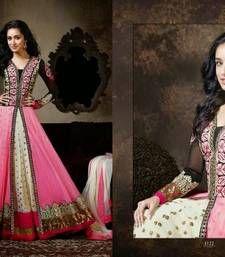 Buy Designer pink color Embroidered dress matirials anarkali-salwar-kameez online