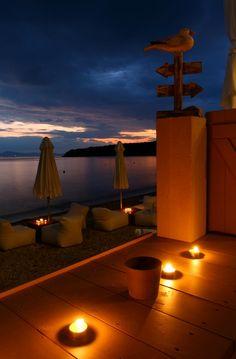 """I walked along the stones barefoot. A few steps away lied the sandy beach. Santorini Greece, Mykonos, Beautiful Islands, Beautiful World, Wonderful Places, Great Places, Seaside Lodge, Travel Around The World, Around The Worlds"
