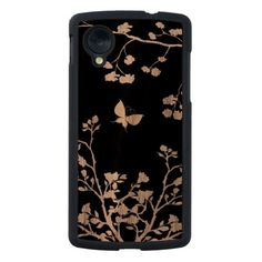A walnut nexus 5 case with a stylish black and white butterfly and country trees and bushes design
