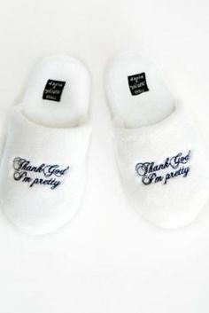 Thank God Im Pretty White Plush Slippers $29.95