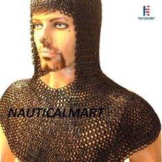 Nauticalmart Larp Armor Flat Riveted Solid Ring Chain Mail Coif Steel 9 Mm Large Blackend wearable Armour Manufacturer, Supplier, Exporter from India Chainmail Shirt, Chainmail Armor, Larp Armor, Roman Sword, Medieval Helmets, Viking Sword, Knights Templar, Chain Mail, Armour