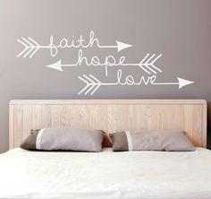 Faith Hope Love - Arrow Vinyl Decal (Interior & Exterior Available) Bedroom Wall Decor, Indie / Boho Decor, Feather and Arrow, Tribal Design by LEVinyl on Etsy https://www.etsy.com/listing/207301469/faith-hope-love-arrow-vinyl-decal