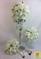 SILK FLOWER WHITE ORCHID/LILY FLOWERS TEARDROP BRIDAL WEDDING BOUQUET SET.