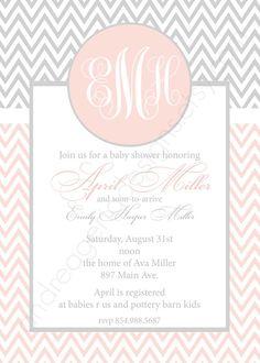 Emily Custom Chevron Baby Shower Invitation by andreagerigdesigns, $15.00