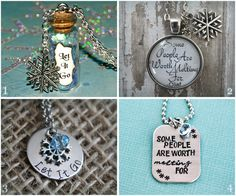 Silver snowflake necklaces like magical bottle pendant by @lifeisthbubbles shines brightly in a blizzard of Disney's #Frozen jewelry on #Etsy!