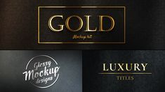 Gold Mockup Kit Glossy Logo and Titles converts your titles and logos into elegant real 3D mockups. Including gold, silver and more, no plugins required!