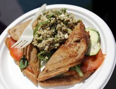 A Zucchini, Cheese, Tomato & Basil Jaffle w/Lentil Tabouli Salad from the Australian Jaffles and Salads & KCSC-FM booth on International Food Row during the Festival of the Arts in downtown Oklahoma City, Wednesday, April 25, 2012. Photo by Nate Billings, The Oklahoman