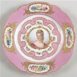 Sevres pink portrait plate - I would love to have a set of these for a breakfast room.
