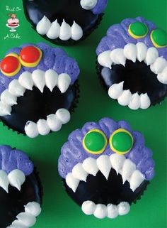 Toothy Monster Cupcakes {Bird On A Cake}