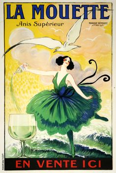LA MOUETTE - ANIS SUPERIORE   by  poster artist Raoul Vion, a vintage poster from the original printing around 1920.